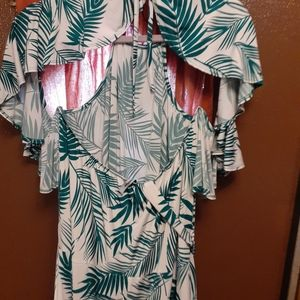 Green and white halter dress